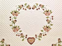 King Peach and Green Heart of Roses Quilt