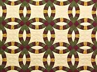 Green Burgundy and Tan Double Wedding Ring Quilt