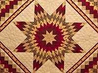 Red and Tan Lone Star Trip Quilt