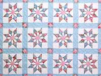 Pastel Blue and Rose Dahlia Star Quilt