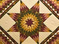 Burgundy Moss and Golden Tan Lone Star Trip Quilt