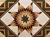 King Green Burgundy and Gold Lone Star Log Cabin Quilt