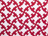 Crimson and White Drunkard's Path Quilt