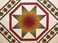 King Brick  Green and Gold Anna's Star Quilt