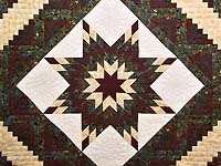 Burgundy Gold and Teal Lone Star Log Cabin Quilt