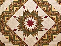 Red Gold and Moss Green Lone Star Log Cabin Quilt