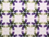 Green and Purple Double Wedding Ring Quilt