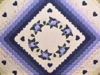 Purple and Green Hearts All Around Applique Quilt