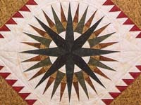 King Gold Red Black and Moss Mariner's Compass Quilt