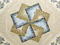 Hand Painted Pastel Blue and Brown Star Spin Quilt