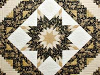 Golden Tan and Black Lone Star Log Cabin Quilt