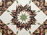 Rose Black Moss and Golden Tan Lone Star Log Cabin Quilt