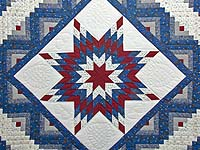 Blue Burgundy and Cream Lone Star Log Cabin Quilt