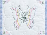 Pastel Blue and Lavender Embroidered Butterfly Quilt
