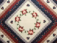 King Navy Burgundy and Tan Hearts All Around Quilt