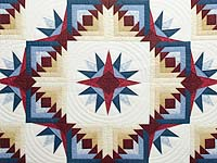 Navy Burgundy and Gold Compass Star Quilt