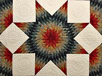 King Brick Red and Steel Blue Broken Star Quilt