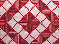 Bright Red Log Cabin Quilt