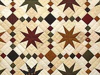 King Burgundy Golden Tan and Multi Stepping Through the Stars Quilt