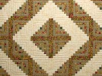 Gold and Moss Green Log Cabin Quilt