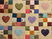 Burgundy Gold and Multi Hearts and Nine Patch Quilt