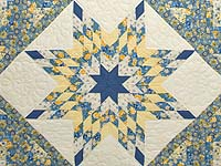 Blue and Golden Yellow Lone Star Log Cabin Quilt