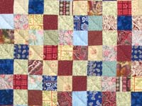 Burgundy Teal and Multicolor Hit or Miss Quilt