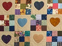 King Burgundy Blue and Multi Hearts and Nine Patch Quilt