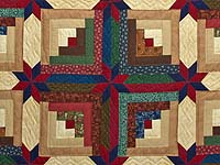Navy Blue Burgundy and Green Colorado Log Cabin Quilt