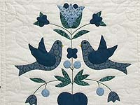 Navy Blue and Cream Love Dove Quilt