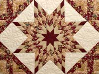 Red and Golden Tan Lone Star Log Cabin Quilt