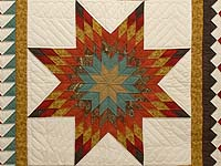King Red Teal and Gold Star Quest Quilt