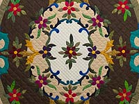 Moss Brown and Multicolor Regal Rose Quilt