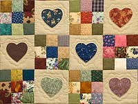 Navy and Multicolor Hearts and Nine Patch Quilt