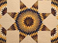 King Bronze Gold and Navy Broken Star Quilt