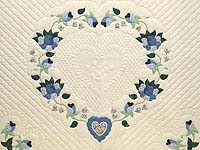 King Blue Violet and Yellow Heart of Roses Quilt