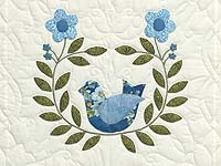 Blue and Green Applique Album Sampler Quilt
