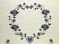 Blue and Cream Heart of Roses Quilt