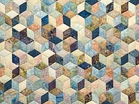 King Pastel Blue Navy and Gold Hand Painted Tumbling Blocks Quilt