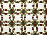 Moss Green Burgundy and Cream Double Wedding Ring Quilt