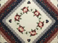 Navy and Burgundy Hearts All-Around Quilt