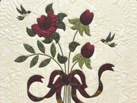 King  Burgundy  Green and Golden Cream Lancaster Treasures Quilt