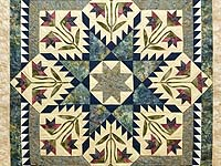 King Pewter Navy and Golden Tan Blooming Star Quilt