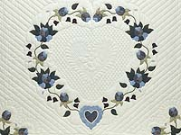King Blue and Cream Heart of Roses Quilt