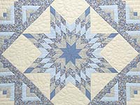 Soft Blues Golden Tan  and Cream Lone Star Log Cabin Quilt