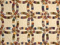 Hand Painted Double Wedding Ring Quilt