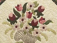 King Dark Green Rose and Pink Spring Basket Quilt