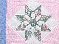 Twin Blue Pink and Green Dahlia Quilt
