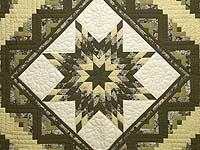 Moss Green and Golden Yellow Lone Star Log Cabin Quilt