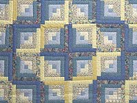Full Size Blue Yellow and Rose Log Cabin Quilt